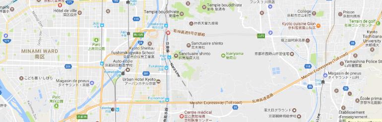 Plan de la ville de Kyoto